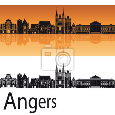 Bild Angers Skyline im orangefarbenen Hintergrund
