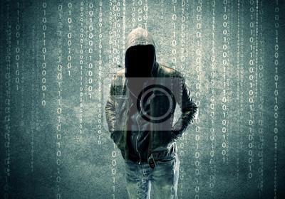 Bild Angry geheimnisvolle Hacker mit Zahlen