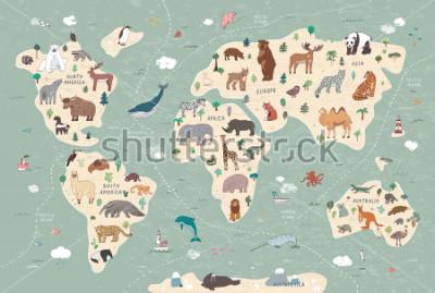 Bild Animals on world map illustrations  hand drawn vector set