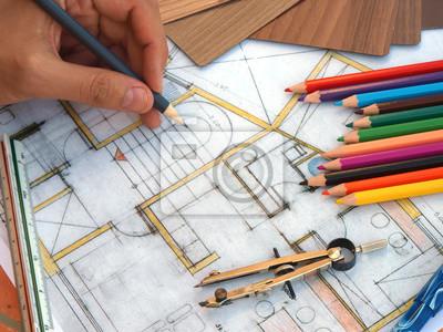 Ansicht Der Innenarchitekt Hände Arbeiten Auf Tisch Mit Haus