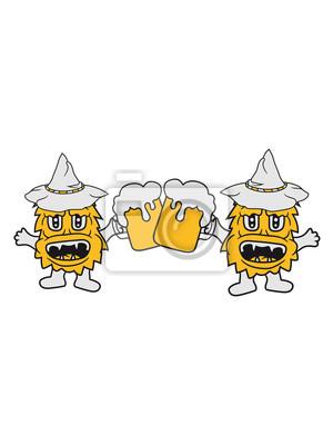 Anstoßen 2 Freunde Team Paar Bier Saufen Oktoberfest Trinken