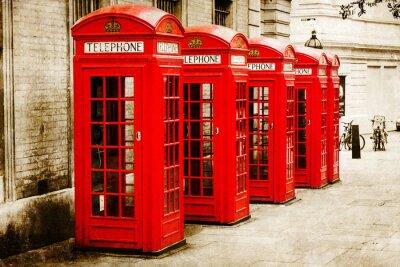 Bild antik texturiertes Bild roter Telefonzellen in London
