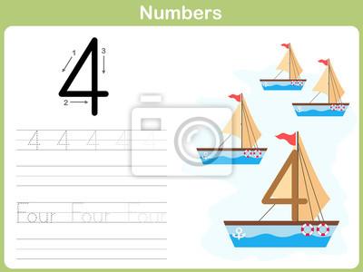 Anzahl tracing arbeitsblatt: schreiben 0-9 leinwandbilder • bilder ...