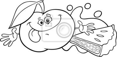 Apfel Und Kuchen Cartoon Farbung Seite Leinwandbilder Bilder