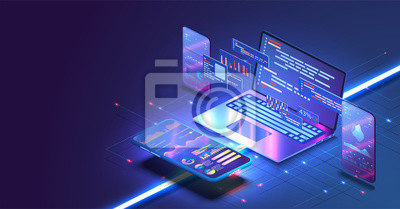 Bild Application of Smartphone with business graph and analytics data on isometric mobile phone. Analysis trends and software development coding process concept. Programming, testing cross platform code