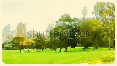 Bild Aquarell Abbildung Sydney Central Park