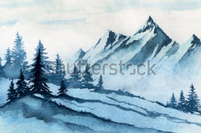 Bild Aquarell Abbildung. Wintergebirgslandschaft, Bäume, Himmel.