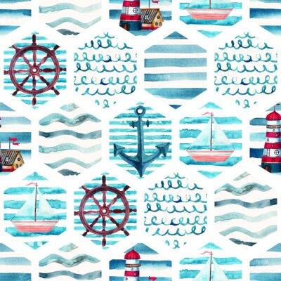 Bild Aquarell Abenteuer nahtlose Muster in Patchwork Marine-Stil.