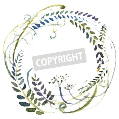 Aquarell Blumen Kranz Hand Gemalte Hochzeit Illustration Vektor