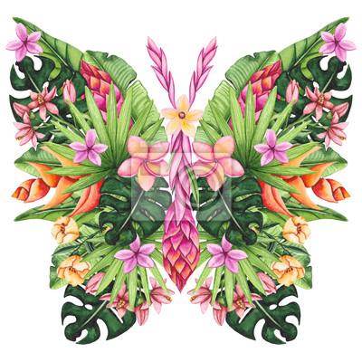 Aquarell Blumen Schmetterling Tropische Blumen Und Blätter
