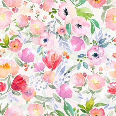Bild Aquarell Blumenmuster