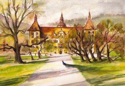 Bild Aquarell Darstellung der Pfau im Park und Fassade des Schlosses Eggenberg in Graz, Steiermark, Österreich