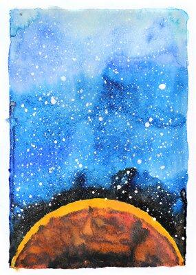 Bild Aquarell-Galaxie-Abbildung. Planet Mars.