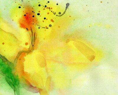 Bild Aquarell Hintergrund mit gelben Lilie. Malerei auf Papier.