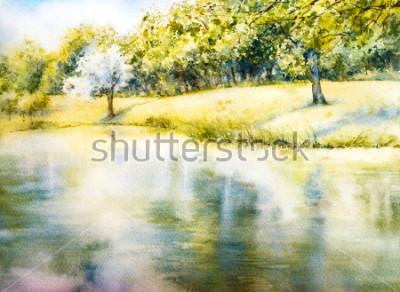 Bild Aquarell Landschaft. Sommerpark. Natur. Aquarell botanische Illustration. Landschaft mit einem See. Küste