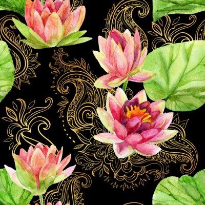 Bild Aquarell Lotus Blume auf goldenen Ornament. Nahtlose Muster