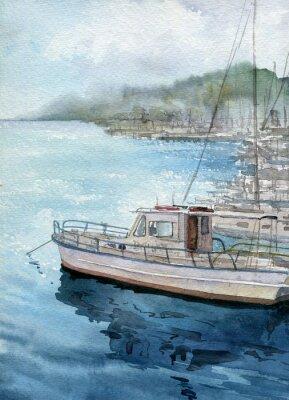 Bild Aquarell Meer Landschaft mit Booten