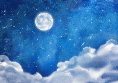 Bild Aquarell Nacht Wolken