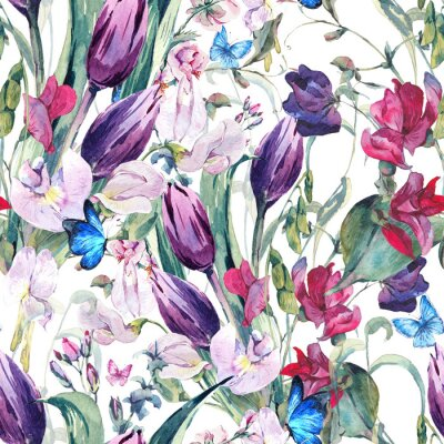 Bild Aquarell Nahtlose Hintergrund mit Sweet Peas, Tulpen