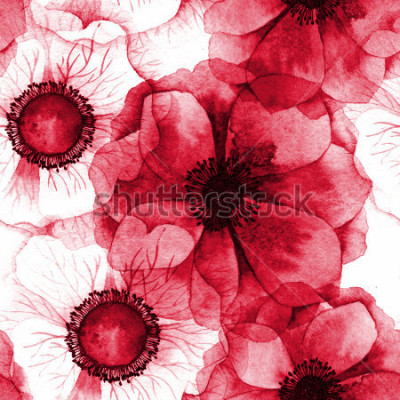 Bild Aquarell nahtlose Muster mit Anemonen. Rasterbeschaffenheit für Fahne, Einladung oder anderes Design.