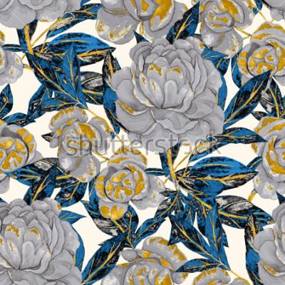 Bild Aquarell nahtlose Muster mit Pfingstrosen. Blumenmuster Romantischer Hochzeitshintergrund Nahtloses Muster des hellen Sommers. Botanische Tapete.