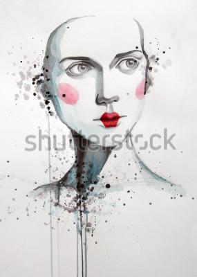 Bild Aquarell Porträt der schönen Frau | handgefertigt | selbst gemacht | Gemälde