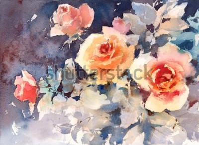 Bild Aquarell-Rosen-Blumen-Blumenhintergrund-Beschaffenheit handgemalt