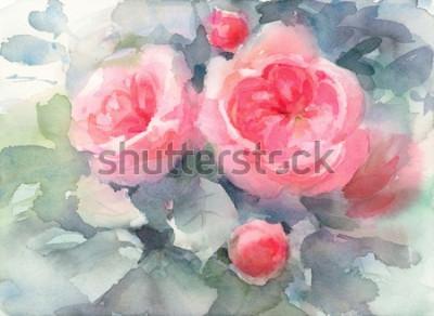 Bild Aquarell-Rosen-Blumen-Blumenhintergrund-Beschaffenheits-handgemalte Illustration