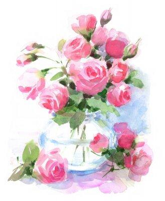 Aquarell Rosen Blumen In Einer Vase Blumen Hand Gemalt Illustration