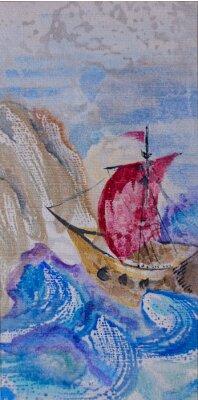 Bild Aquarell-seelandschaft mit schiff segeln in einem stürmischen meer auf dem lan