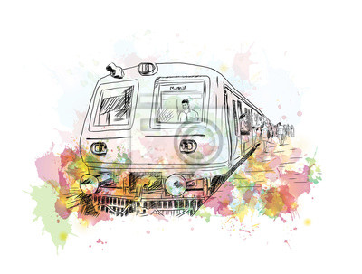 Bild Aquarell Skizze von Mumbai lokalen Zug in Vektor-Illustration.