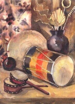 Bild Aquarell Stilleben mit einer Trommel
