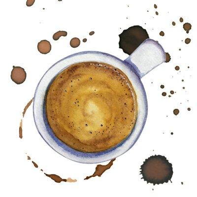 Bild Aquarell Tasse Kaffee Espresso mit Flecken und Kaffeemarken herum, Draufsicht.