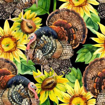 Bild Aquarell-Truthahn mit Sonnenblumen nahtlose Muster