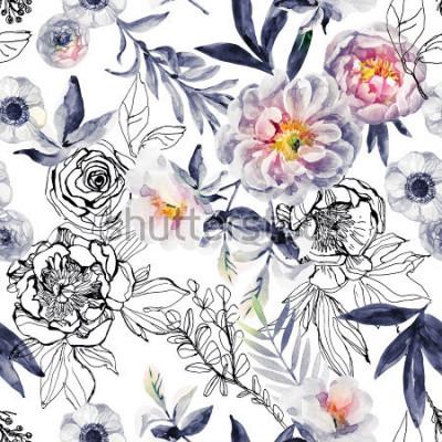 Bild Aquarell- und Tintengekritzelblumen, Blätter, nahtloses Muster der Unkräuter. Handgemalter, gezeichneter Blumenhintergrund mit Pfingstrosen, Anemonen, Ranunculus, Heckenrosenniederlassung, Wiesenkräut