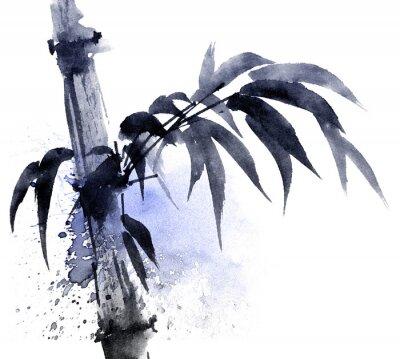 Bild Aquarell- und Tintenillustration von Bambus mit farbigen Wasserspritzern.  Orientalische traditionelle Malerei im Stil sumi-e, u-sin.  Künstlerische Illustration.