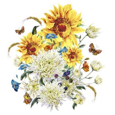 Bild Aquarell-Vintage-Karte mit Rosen, Sonnenblumen und Hintern