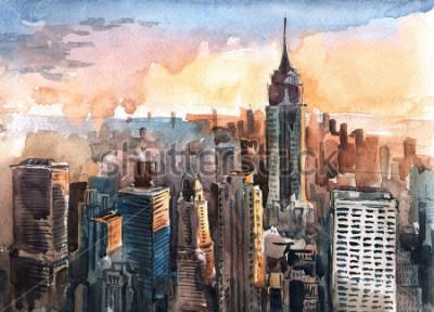 Bild Aquarell von Manhattan-Wolkenkratzern bei Sonnenuntergang - New York City ragt hoch