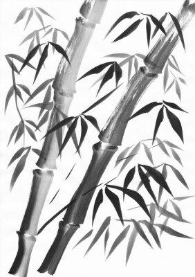Bild Aquarell von zwei Bambusstangen mit Grunge-Striche gemalt. Schwarze Gouache auf Weißbuchstudie.