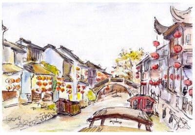 Bild Aquarell - Wasserkanal in der alten Stadt in China. Rote Laternen.