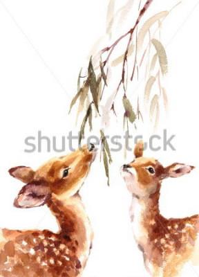 Bild Aquarell zwei Rotwild, die oben zum Brunch mit der handgemalten Illustration der Blätter lokalisiert auf weißem Hintergrund schauen