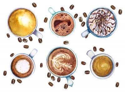 Bild Aquarellbecher des Kaffees, lokalisiert auf weißem Hintergrund mit Kaffeebohnen, Draufsicht.