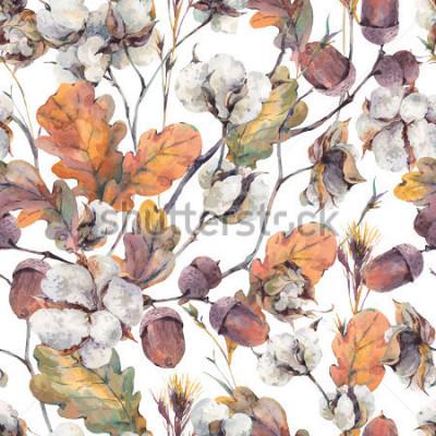 Bild Aquarellherbst-Weinlesehintergrund mit den Zweigen, der Baumwollblume, den Blättern der gelben Eiche und den Eicheln. Nahtloses Muster der botanischen Aquarellillustrationen