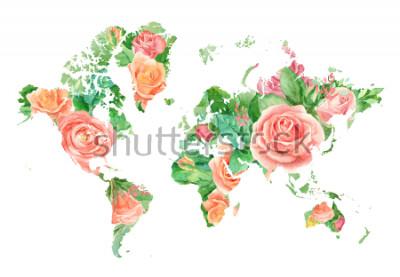 Bild Aquarellillustration der Weltkarte in den Blumen. Vorlage für DIY-Projekte, Hochzeitseinladungen, Grußkarten, Poster, Blogs, Website
