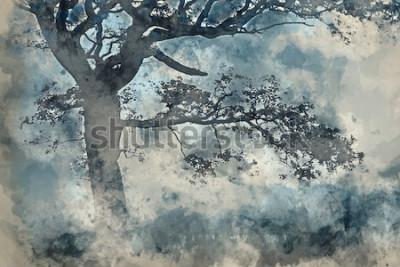 Bild Aquarellmalerei der schönen Landschaft der Landschaft um Cummock-Wasser im Herbst auf nebeligem Morgen