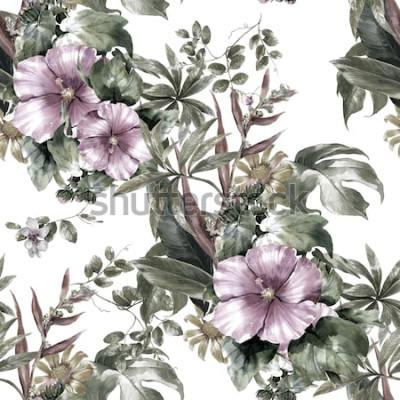 Bild Aquarellmalerei des Blattes und der Blumen, nahtloses Muster auf weißem Hintergrund