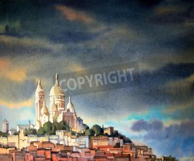 Bild Aquarellmalerei des Montmartre, in Paris-Stadt, Frankreich.