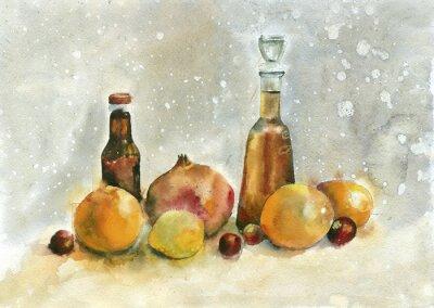 Bild Aquarellmalerei. Stilleben mit Orangen, Granatapfel und Flaschen auf Vintage-Hintergrund.