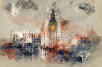 Bild Aquarellmalerei von Big Ben und von Parlamentsgebäuden während des Wintersonnenuntergangs.