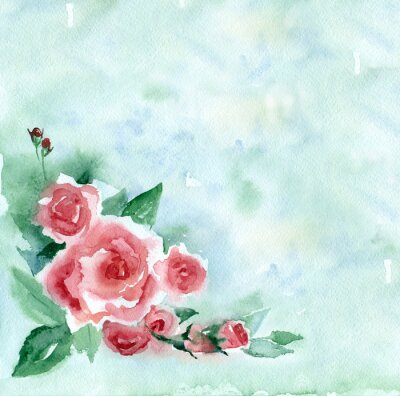Bild Aquarellmalerei. Weinlese-Blumenstrauß der roten Rosen auf einem grünen unscharfen Hintergrund.